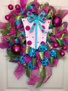 Candy Land Present Mesh Wreath by WilliamsFloral on Etsy, $95.00