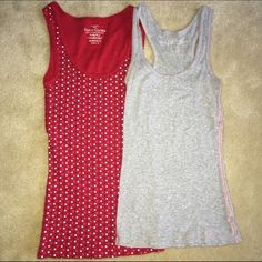 2-pack tank tops: Red with polka dots & grey 2 tank top bundle. Grey tank is from aero & has pink thread on seams. Red one is Faded Glory with white, pink, & blue polka dots. Wear individually or layer them! Condition: red is like new, grey has been worn but still in great condition. No stains, rips, or holes in either. I'm open to offers & give bundle discounts! 😊☮❤️✌️ Aeropostale Tops Tank Tops