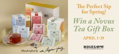 Enter our Perfect Sip for Spring Sweepstakes for a chance to win a Novus Tea Gift Box! Good luck! #BigelowTea #sweepstakes #NovusTea