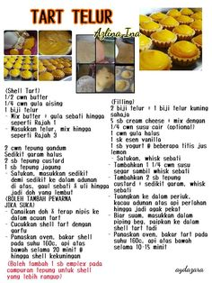 Egg Tart, Fruit Tart, Resep Pastry, Unique Recipes, Sweet Recipes, Durian Recipe, Banana Bread Brownies, Sambal Recipe, Cookie Recipes