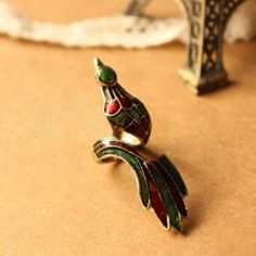 $2.54 Retro Stunning Style Peacock Shape Colorful Dust Embellished Finger Ring
