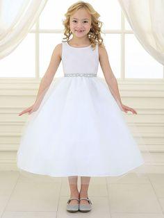 White Rhinestone Waistband Tulle Dress