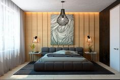 modern-bedroom Wood slat wall with grass cloth wall paper and fabric bed textures galore!