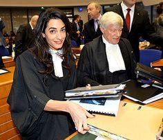 "Amal Alamuddin at the European Court of Human Rights on Jan. 28, 2015.  ""I'm wearing Ede & Ravenscroft,"""