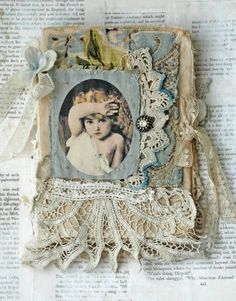 MIXED MEDIA FABRIC COLLAGE BOOK OF CHERUBS IN BLUE   eBay