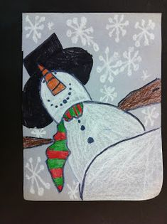 Here is a project we decided to do with the 4th grade class it was a forced perspective Snowman,  it was colored with crayons and white oil ...
