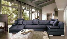Modern Black Sectional Sofa Set. Model: by ContemporaryPlan