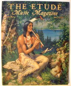 "1932 vintage cover art for Etude Magazine June Vol 1 6. Illustration of Indian scene.  ""by The Waters of Minnetonka"" Native American man."