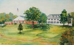"South Shore Country Club Hingham Ma. 12""x18"" Original watercolor by Renee MacMurray od MacMurrayDesigns.com, $1500.00"