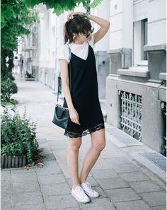 Black slip dress+white t-shirt+white sneakers+black shoulder bag. Late Summer Everyday Outfit 2016
