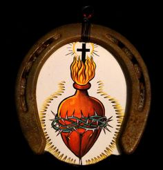 Unique Horseshoe Wall Art Sacred Heart Lucky by ScavengedArt, $42.00
