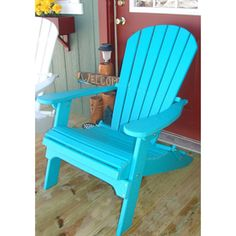 Phat Tommy Teal Recycled Plastic Adirondack Chair