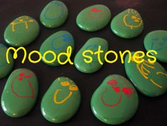 CRAFT-- MAKE STONES AHEAD-- Happy Whimsical Hearts: Mood stones. Paint stones with smooth paint, then let dry.  Decorate with faces (with removable paint?) and use... tell story.. how their day is... feelings in regards to person, place, etc..