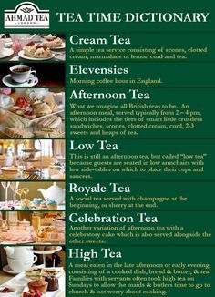 Tea Time Dictionary. Frequently confused, Afternoon Tea and High Tea are NOT the same thing, or interchangeable.