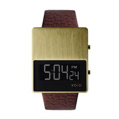 Brushed Gold and Leather Watch /
