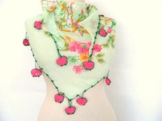 green scarf  cotton scarf  Oya Scarf scarf fashion by asuhan, $22.00
