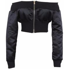 kKissb Hats Black And Kakhi Off Shoulder Cropped Bomber Jacket Women Zip up Front and Back Long Sleeve High Street Style Coats - Model Number: Off Edgy Outfits, Teen Fashion Outfits, Fashion Top, Fashion Black, Fashion Dresses, Off Shoulder Jacket, Shoulder Sleeve, White Cropped Jacket, Cropped Blazer