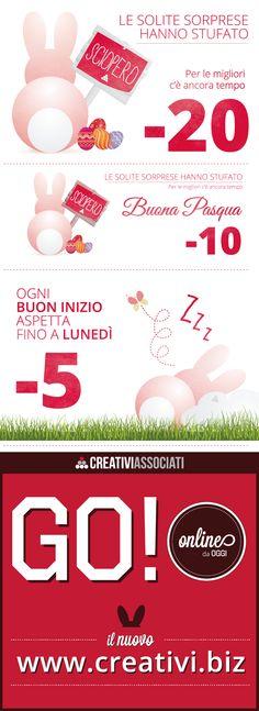 Ideazione Countdown per il lancio del sito www.creativi.biz  - 20 e - 10 : auguri di Pasqua - 5 : 1 Maggio - Data di lancio: lunedì 5 Maggio  Newsletter e Post sui vari Social Network