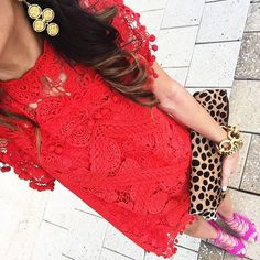 """""""Celebrated my birthday with my girlfriends last night in this red & pink get up ... I love these two colors together! ❤️ Shop my look here:…"""""""