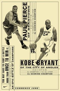PAul Pierce & Kobe Bryant – poster/affiche Nike campaign by Hort Hagelberger (Germany/Allemagne, Berlin) Nike Poster, Sports Graphic Design, Graphic Design Typography, Sport Design, Tool Design, Layout Design, Ux Design, Basketball Posters, Basketball Stuff