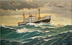 Werk van Frits Hoogstrate.Liberiakust passeert Alderney en Les Casquets
