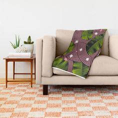 $49.00 Buy Summer Tropical Modern Palm Leaves With Pink Curves Throw Blanket by Season of Victory plant, tropical, island, holiday, vacation, summer, leaf, leaves, green, pink, flower, spring, curves, modern, postmodern, memphis, memphisdesign, memphicmilano, design, curve, shape, geometric, palm, tropic, cool, flamingo, island, nature, home, interior, decor, design, house, apartment, decoration
