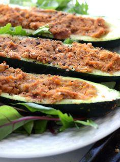 Healthy Chickpea Stuffed Zucchini Boats | vegan, oil-free, gluten-free