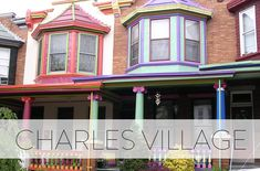 Charles Village is made up primarily of circa 1895-1915 rowhouses in a variety of styles. Many feature eclectic architectural elements such as pediments, front porches, bowed fronts, projecting bays, dutch gables, pyramidal and conical roofs, small balconies, and stained glass windows and transoms. Most of the housing is set back from the street providing well landscaped front lawns. Baltimore Neighborhoods, Camden Yards, Small Balconies, Bays, Front Porches, Medical School, Find A Job, Architectural Elements, Stained Glass Windows