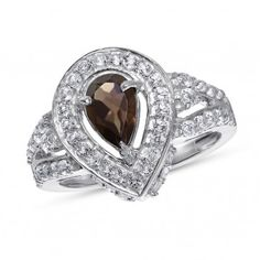 Viola Collection, Sterling Silver Smoky Quartz & White Topaz Ring