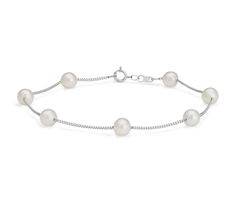 Under $100! Freshwater Cultured Pearl Station Bracelet in 14k White Gold   #Jewelry #Accessories #Style