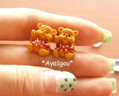 Kawaii earrings sweet lolita fairy kei teddy bear by Aya1gou, $5.80