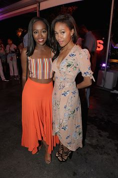 Aja Naomi King and Nicole Beharie at HBO X ABFF Ballers S2 Reception, 6/18/16.