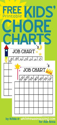 Free printable kids' chore charts featured on Ask Anna