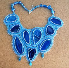 Blue Agate bead embroidered collar style necklace. by suegoode, $375.00
