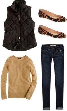 Dark brown vest, beige top, dark blue jeans, lepard print flats