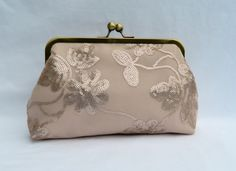 Bridal Clutch Nude Floral Sequin Clutch Sequin by TheHeartLabel