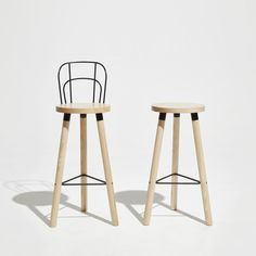 Partridge Bar Stool with Backrest | Timber Counter Stool | Powder Coated Steel & Aluminium | DesignByThem