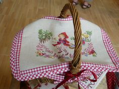 Darling picnic basket with Red Riding Hood cross stitch cover