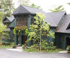 New Hampshire shingle style lakehouse colors