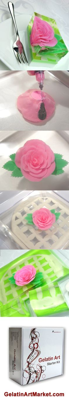 Learn how to make gelatin art flower cakes  https://gelatinartmarket.com/blogs/news/145422791-easy-gelatin-art-cake-background