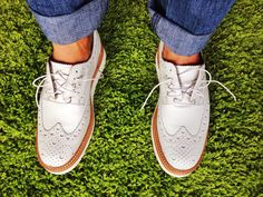 White Wedge Wingtip 'Archie', by Grenson Shoes. Men's Spring Summer Fashion.