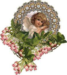 angioletto con fiori