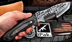 CFK USA Custom Handmade Antique-Hammered D2 Micarta Tanto