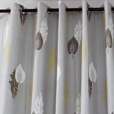 The gray drapes are leaf patterned curtains, wonderful quality, good insulated, wrinkle resistance, Wide Window Curtains, Patterned Curtains, Grommet Curtains, Curtain Fabric, Yellow Kitchen Curtains, Dining Room Curtains, Curtain Patterns, Curtain Ideas