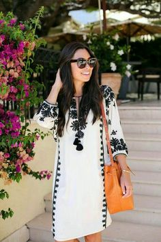 Kat Tanita of With Love From Kat wears a Figue embellished kaftan to lunch at Cap Ferrat hotel on the French Riviera. Ethnic Fashion, Boho Fashion, Fashion Dresses, Womens Fashion, Cute Dresses, Casual Dresses, Casual Outfits, Vetement Fashion, Moda Casual