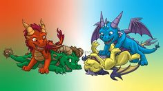 Ignitus, Terrador, Cyril, and Volteer as cute young dragons playing together. This always makes me smile. :)