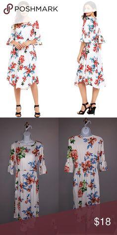 af910d2211d Women s Floral Print Bell Sleeve Midi Dress Women s Summer Floral Print  Bell Sleeve Casual Midi Dress. Dresses Midi
