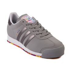 Shop for Womens adidas Samoa Athletic Shoe in Gray Gray at Journeys Shoes. Shop today for the hottest brands in mens shoes and womens shoes at Journeys.com.The always classic soccer inspired Samoa from adidas features a synthetic upper, reinforced toe, and padded mesh collar comfort. Includes a one of a kind rainbow color pop outsole! Available exclusively at Journeys and SHI!