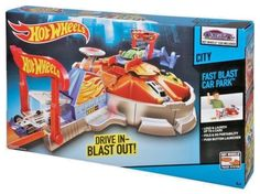 Hot Wheels Launching Garage Playset Drive in Blast Out Carrying Case Set Ages 4+