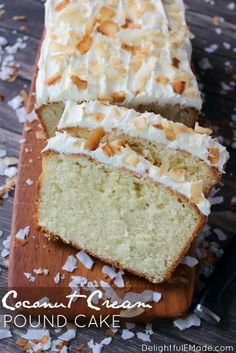 The ultimate coconut pound cake recipe!  Made with coconut cream, and sweetened flake coconut this ultra-moist pound cake is a must-make for every coconut lover.  Perfect for Easter Brunch, Mother's Day or anytime you're in the mood for an amazing coconut dessert! | Delightful E Made